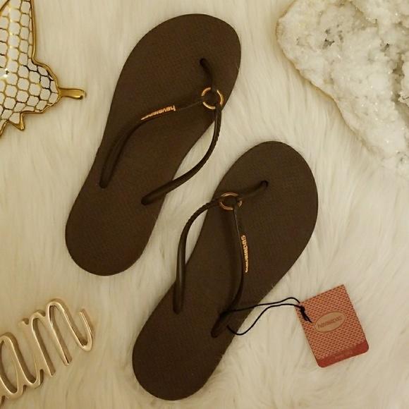 e469b3710428 Havaianas Brown Slim Sandals Flip Flops 7 8 37 8